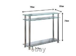 Glass Console Table Clear or Black Glass Chrome Legs 2 Tier Modern Hall Table