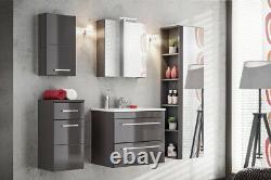Grey Gloss Bathroom 600mm Vanity Sink Basin Wall Hung Cabinet Drawers Unit Twist