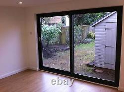 Grey on White uPVC / Sliding Patio Doors / 2100mm x 2100mm / BRAND NEW