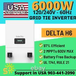 Grid-Tied Inverter Delta H6 6000W NEW Battery-less Backup UL1741 Rule 21 2MPPT