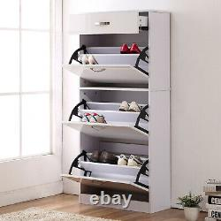 HOMCOM Shoe Storage Cabinet Footwear Organiser Space-saving with Drawers White