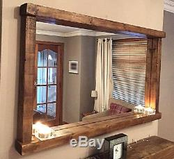 Handcrafted Rustic/Farmhouse/Country Style Chunky Wooden Mirror With Shelf