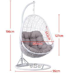 Hanging Rattan Swing Chair With Soft Cushion armrest design Outdoor&Indoor White