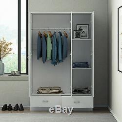 Harmin Mirrored 3 door High Gloss White Doors Soft Close Wardrobe with Drawers