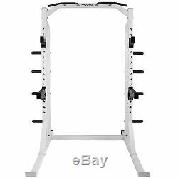 Hd White Olympic Power Cage/squat & Weight Rack Home Multi Gym Pull Up Bar/lift
