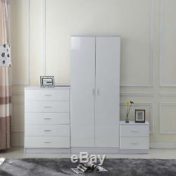 High Gloss Home Furniture Set Wardrobe Chest Bedside Table 7 Drawer