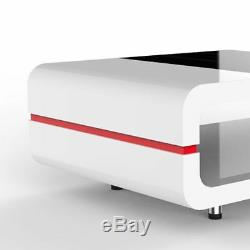 High Gloss White + Black Glass Top Coffee Table Side End Tables Living Room