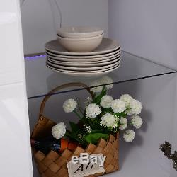 High Gloss White Cabinet Cupboard RGB LED Sideboard Buffet with 2 Drawer&3 Doors