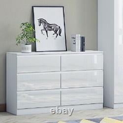 High Gloss White Chest of 6 Drawers. Large Modern Design Bedroom. W120cm x H77cm