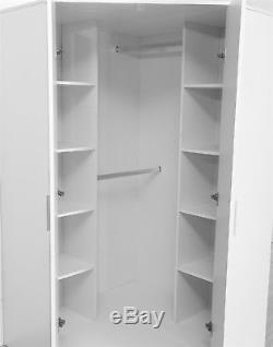 High Gloss White / Matt White Bedroom Furniture Range 2 Door Corner Wardrobe