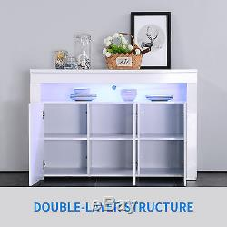 High Gloss White RGB LED Sideboard Buffet Cabinet Cupboard with 3 Doors Storage