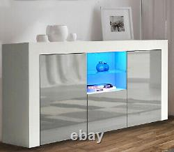 High Gloss White Sideboard Cupboard Display Cabinet Tv Unit Stand With Led Light