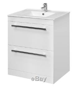 High Gloss White Veebath Sphinx minimalist Vanity unit with in-set basin (600mm)