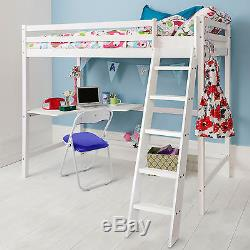 High Sleeper Cabin Bed with Desk in Choice of Colours High Sleeper