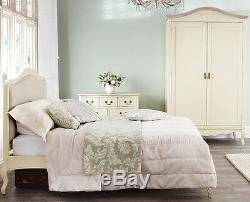 JULIETTE Shabby Chic Champagne Upholstered Double Bed, 4FT6 cream bed frame