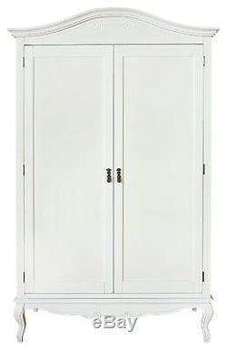 Juliette Shabby Chic White Double Wardrobe. Stunning large white 2 door wardrobe