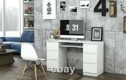 KUBA Large 6 Drawer White Matt Desk