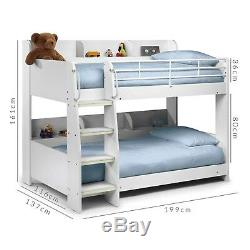 Kids 3ft Bunk Bed in White Wooden Bed Frame with Storage Shelves