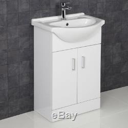 L Shaped Complete Bathroom Suite Close Coupled Toilet Vanity Unit Bath Taps Set