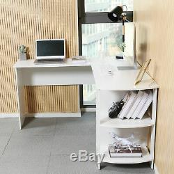 L-shaped Computer Desk Corner PC Workstation Table Home Office with Shelves White