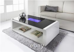 LED High Gloss Coffee Table Glass Table Top Living Room Furniture