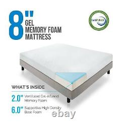 LUCID 6, 8, 10, and 12 Inch Gel Memory Foam Mattress Twin Full Queen and King