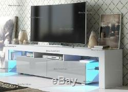 Large 200cm TV Unit Cabinet Stand Matt body and High Gloss Doors, FREE LED