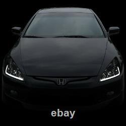 Led Drlfor 2003-2007 Honda Accord Smoked Housing Amber Side Headlight/lamp Set