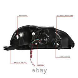 Led Drlfor 96-98 Honda CIVIC Black Housing Clear Corner Projector Headlights