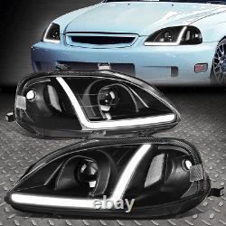 Led Drlfor 99-00 Honda CIVIC Black Housing Clear Corner Projector Headlights