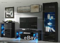 Living Room Set Matt Body & Gloss Doors TV Unit Display Cabinet Cupboard LED