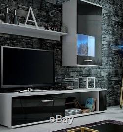 Living room furniture set TV stand glass unit cupboard high gloss LED lights