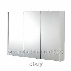 Lux 900 Gloss White 3 Door Mirror Bathroom Cabinet Wall Mounted