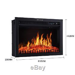 Luxury 2KW Electric Fireplace LED Log Fire Burn Flame Heater + Surround Mantel