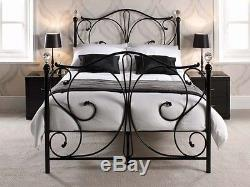 Luxury Metal Bed with Crystal Finials 4ft6 Double Bed Frame
