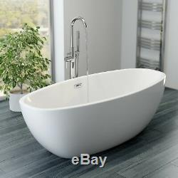 Luxury Modern Freestanding Bath Egg Shaped Acrylic Bathtub Built in Waste White
