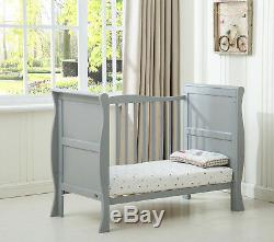 MCC Solid Wooden Cot bed Savannah Sleigh Cotbed & Water Repellent Mattress
