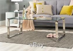 MIAMI Modern Chrome Metal and Tempered Glass Side Living Room Coffee Table