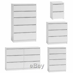 MODERN White Chest Of Drawers And Bed Side