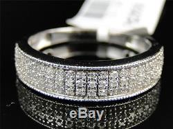 Mens 10K White Gold Genuine Diamond Pave Wedding Engagement Band Ring. 29 Ct