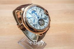 Mens Automatic Mechanical Watch Rose Gold White Dial Brown DIASTERIA 3109