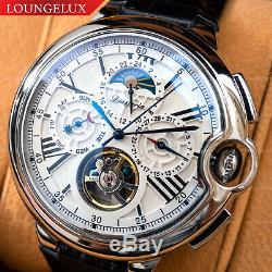 Mens Automatic Mechanical Watch Silver White Dial Black Leather DIASTERIA 3109