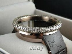 Mens Brand New 52Mm Bezel I Gucci Digital Ya114209 Brown Diamonds Watch 10 Ct