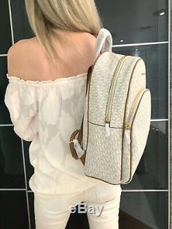 Michael Kors Abbey Large Backpack Mk Signature Pvc Leather Vanilla