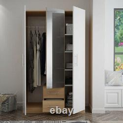 Mirrored 3 Door High Gloss White Wardrobe with Drawers