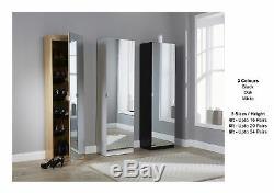 Mirrored Shoe Cabinet Storage Rack Full Mirror 3 Sizes Black White Oak