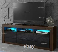 Modern 160cm TV Unit Cabinet Stand Sideboard Matt body and High Gloss Doors LED