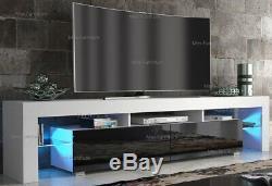 Modern 200cm TV Unit Cabinet TV Stand Matt Body & High Gloss Doors LED Light