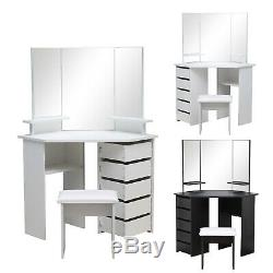Modern Corner Dressing Table Set with3 Large Mirror&5 Drawers Makeup Desk Dresser