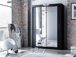 Modern Double Mirror Sliding Door Wardrobe DAKO 3 Optional LED 6 COLOURS 5 SIZES